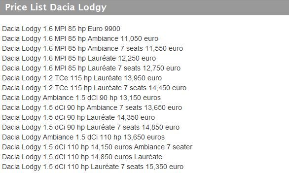 price list dacia lodgy